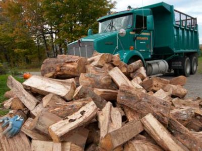 Delivered Wood in front of dysart's truck